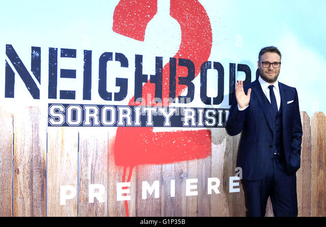 Seth Rogen attends the 'Neighbors 2: Sorority Rising' premiere at the Regency Village Theatre on May 16, - Stock Image