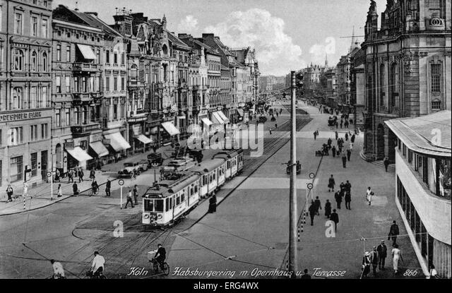 Cologne, Germany, c. 1940s. Habsburgerring m.Opernhaus u. Terrasse. (Opera house, Hasburg Ring). Postcard dated - Stock Image