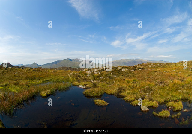 The Snowdon range, from Yr Arddu in the Moelwyn hills, Snowdonia, North Wales, UK - Stock Image