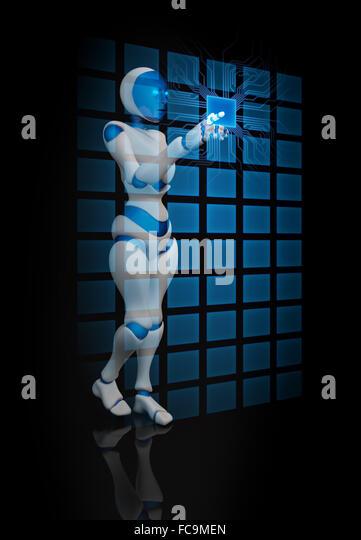 Humanoid female robot using a futuristic interface - Stock-Bilder