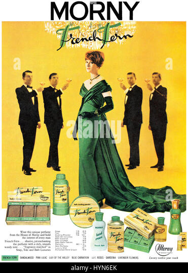 1962 British advertisement for Morny French Fern Toiletries. - Stock Image