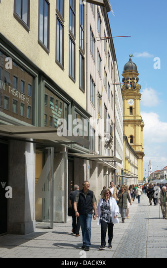 Theatinerstrasse, looking north, Munich, Germany - Stock-Bilder