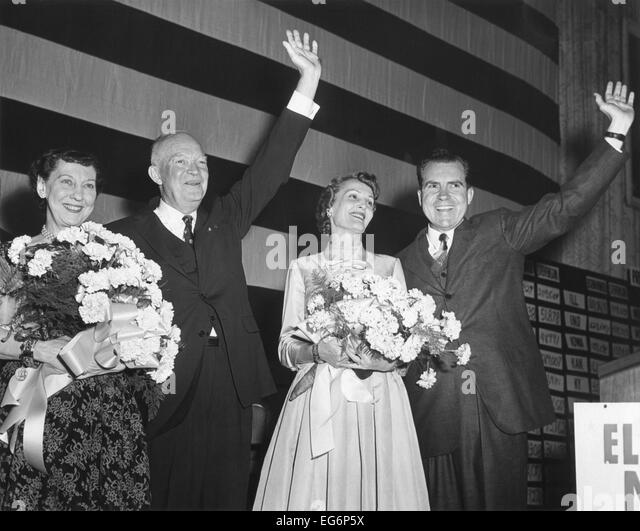 Newly re-elected President Dwight Eisenhower and VP Richard Nixon on election night. Nov. 6, 1956. Their wives, - Stock Image