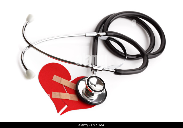 Stethoscope and broken heart concept for heart disease or illness - Stock Image