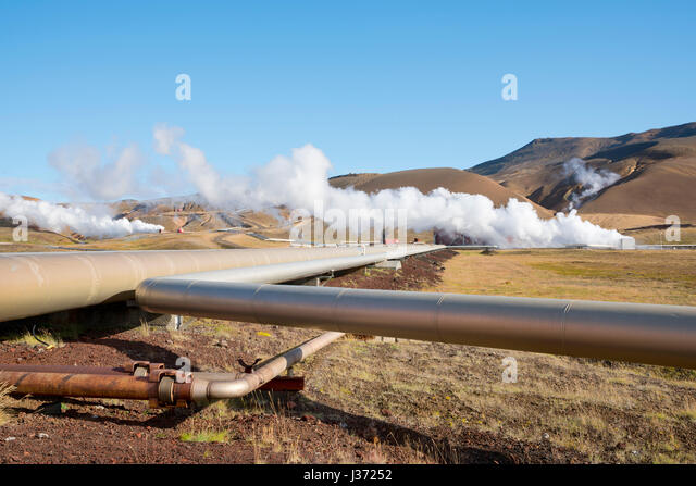 Pipes at a Geothermal Power Station, Krafla, Iceland - Stock Image