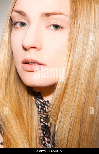 Beautiful woman with long, blonde hair - Stock Image