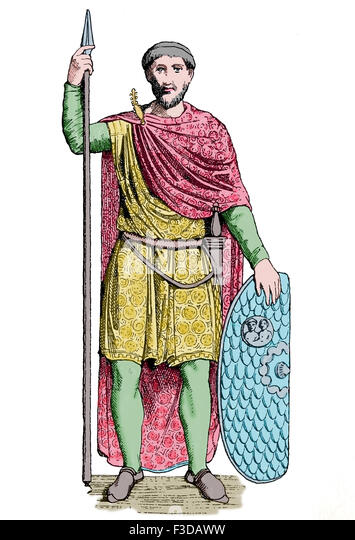 Late Antiquity. Easthern Roman Empire. Noblemant. 5th century AD. Engraving. 19th century. Later colouration. - Stock Image