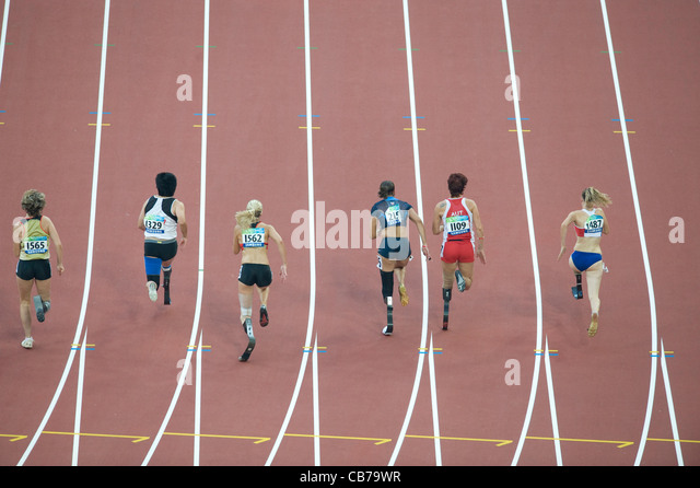 Beijing, China September 13, 2008: Day 8 of athletics Beijing 2008 Paralympic Games women's T44 (amputee) final - Stock Image