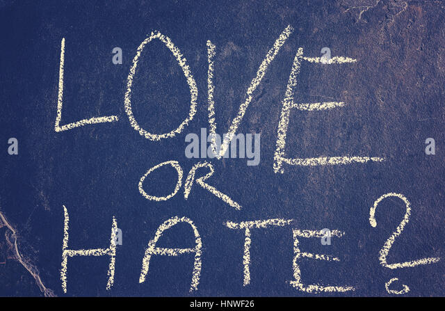 Love or hate chalk drawing, color toning applied, conceptual picture. - Stock Image