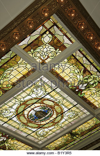 Little Rock Arkansas Capital Hotel lobby stained glass window ceiling historic building preservation art - Stock Image