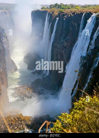 View of Victoria Falls from the ground. Mosi-oa-Tunya National park. and World Heritage Site. Zambiya. Zimbabwe. - Stock Image