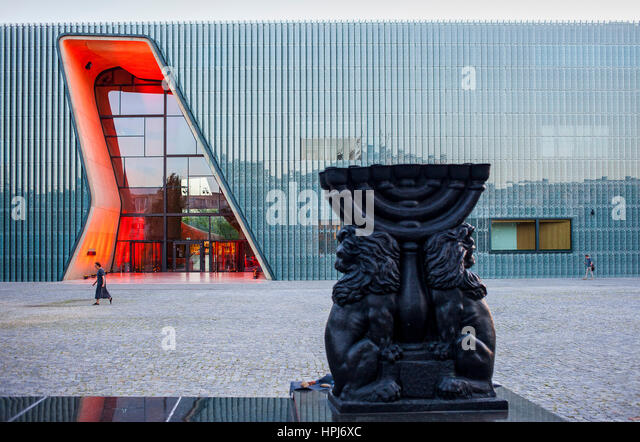 Museum of the History of Polish Jews, designed by Rainer Mahlamaki. Warsaw. Poland. - Stock Image