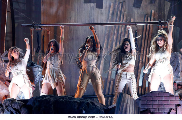 Fifth Harmony performs 'That's My Girl' at the 2016 American Music Awards in Los Angeles, California, - Stock Image
