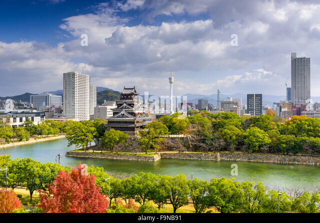 Hiroshima, Japan city skyline at the castle. - Stock-Bilder