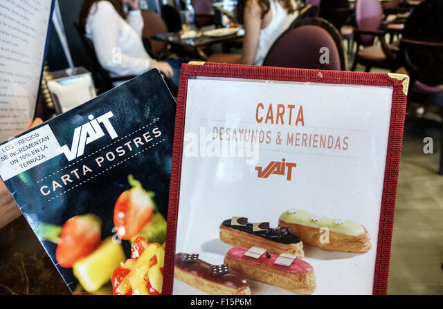 Madrid Spain Europe Spanish Retiro VAIT restaurant inside interior bakery gourmet shop dining breakfast dining desserts - Stock Image