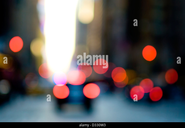 Abstract urban street scene with traffic, New York City. - Stock Image