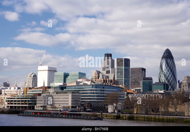 London, skyline, Gherkin, River, Thames, City, uk - Stock Image