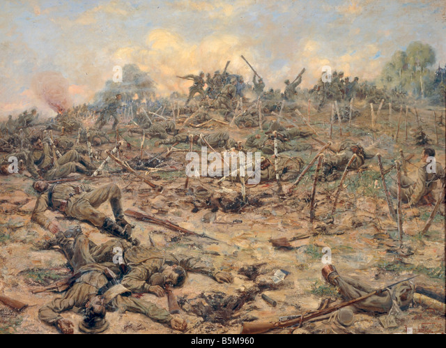 2 G55 O1 1917 8 WWI Russian attack Karyagin History WWI Eastern Front Russian attack on German drenches Painting - Stock Image