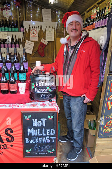 Hot Mulled Buckfast Tonic Wine Glasgow German Market, Scotland, UK - Stock Image