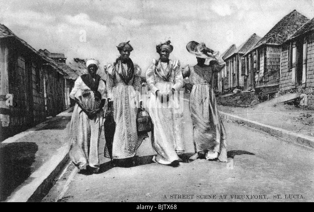 A street scene at Vieuxfort, St Lucia, early 20th century. - Stock Image