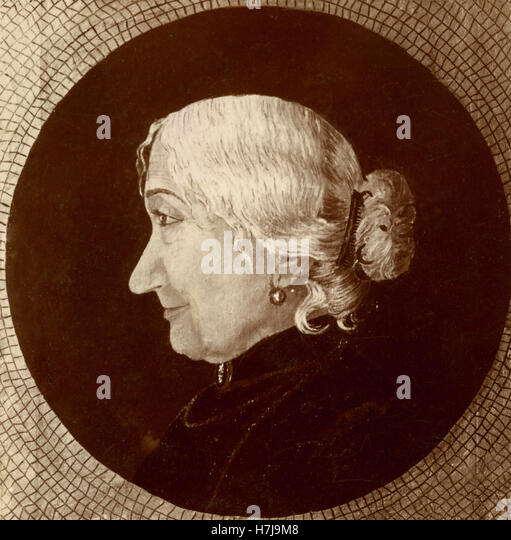 Painting of an elderly woman in profile - Stock Image