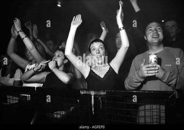 Crowd cheering at Leftfield gig at The Manchester Academy - Stock Image