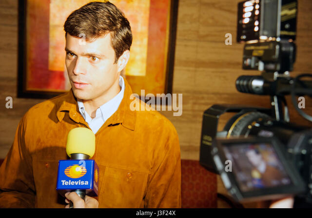 Miami Florida InterContinental Hotel Mayors' Hemispheric Forum press conference interview Caracas Chacao Venezuela - Stock Image