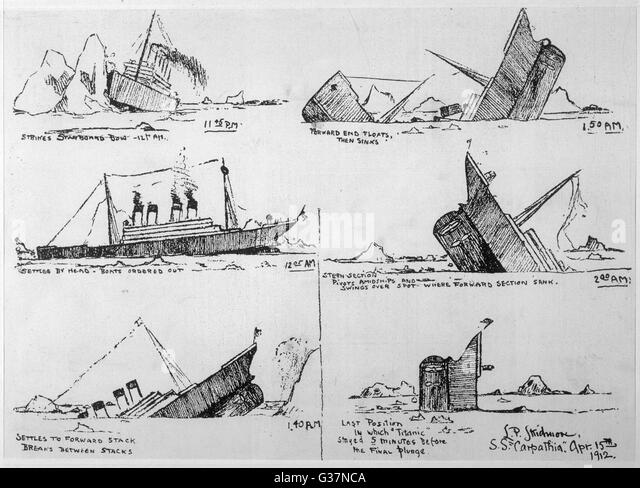 A sequence of illustrations  showing the sinking of the Titanic, sketched by survivor John B Thayer Jr. (known as - Stock-Bilder