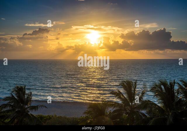 Sunrise Miami Beach Landscape - Stock Image
