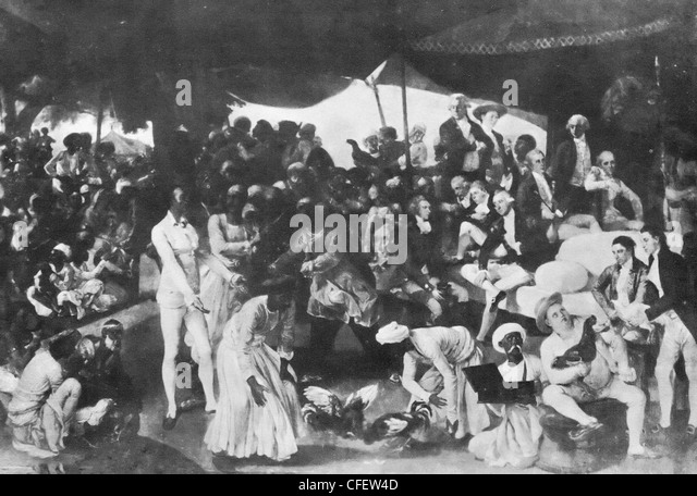 Cockfighting at Lucknow circa 1850 - Stock-Bilder