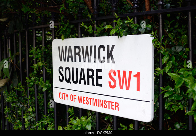 Warwick Square SW1 street sign. - Stock Image