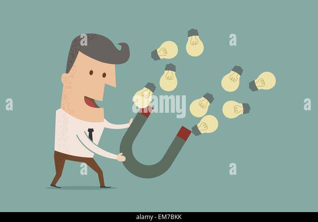 businessman with horseshoe magnet collecting  light bulb , eps10 - Stock Image