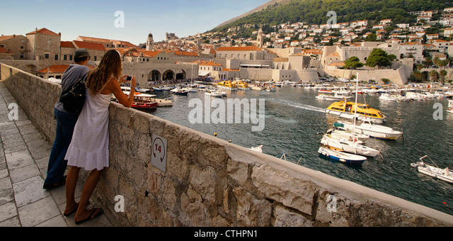 view from battlement to old harbour of Dubrovnik, Croatia - Stock Image