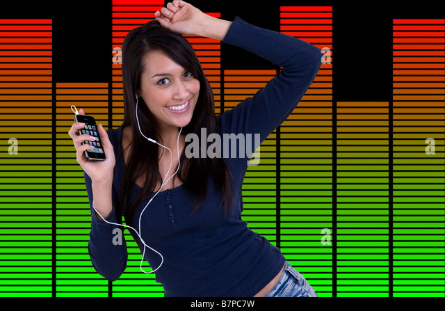Girl dancing with headphones to mp3 music with iphone with graphic equalizer background - Stock-Bilder