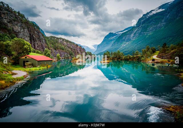 Beautiful Nature Norway natural landscape. lovatnet lake. - Stock Image