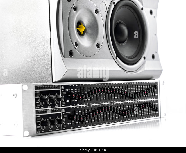 Control panel of a graphic equalizer and speaker on white - Stock-Bilder