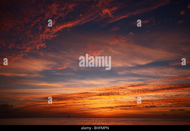 Sunset off of St. Lucia - Stock Image
