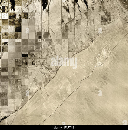 historical aerial photograph of Salton Sea, Imperial County, California, 1947 - Stock Image