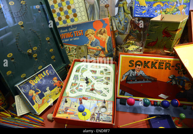 Old family childrens board game games 1940s 1950s collection - Stock Image