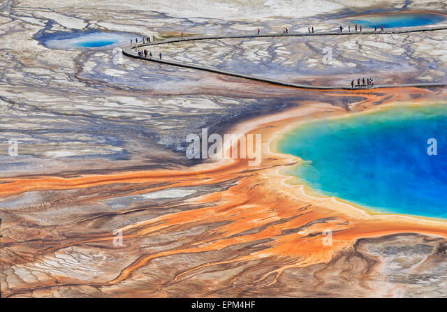 USA,  Yellowstone National Park, Lower Geyser Basin, Midway Geyser Basin, Grand Prismatic Spring, elevated view - Stock Image