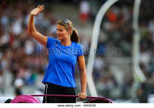 Saint Denis, France. 27th Aug, 2016. Dutch heptathlete Dafne Schippers parades in the Stade de France on August - Stock Image