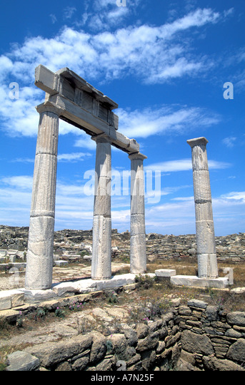 GREECE Poseidonists Temple at Delos - Stock Image