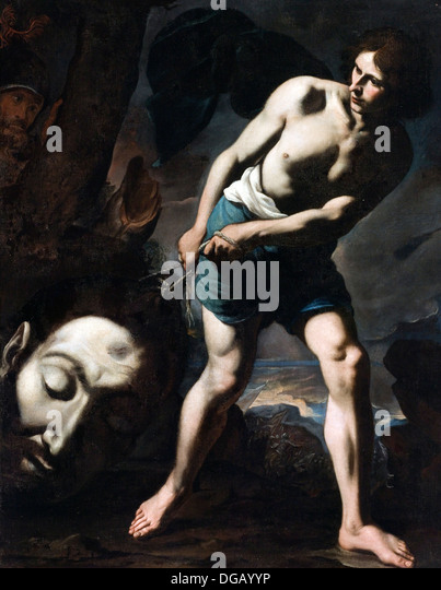 David with the Head of Goliath - Stock Image