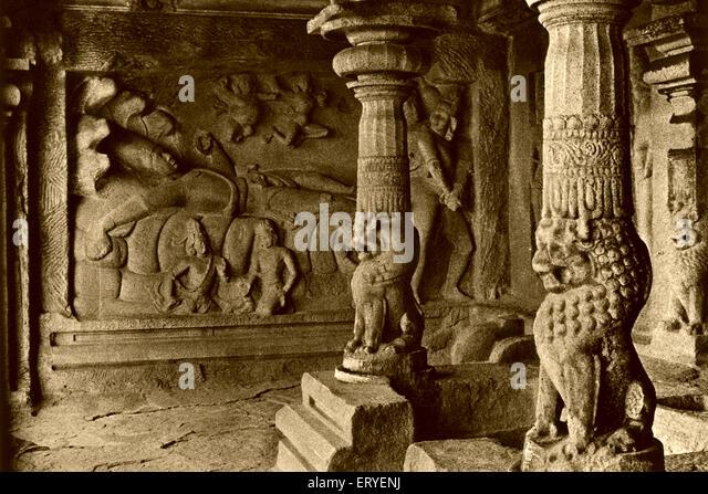 Old picture postcard Arjuna Pandavemahabalipuram ; Mahabalipuram Mamallapuram district Kanchipuram ; Tamil Nadu - Stock Image