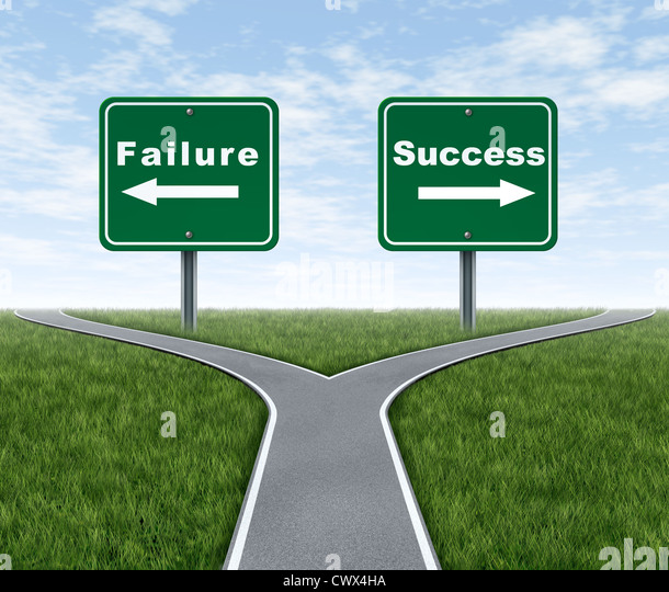 Success and failure symbol represented by a forked road with a road sign representing Failing and another successfulness - Stock Image