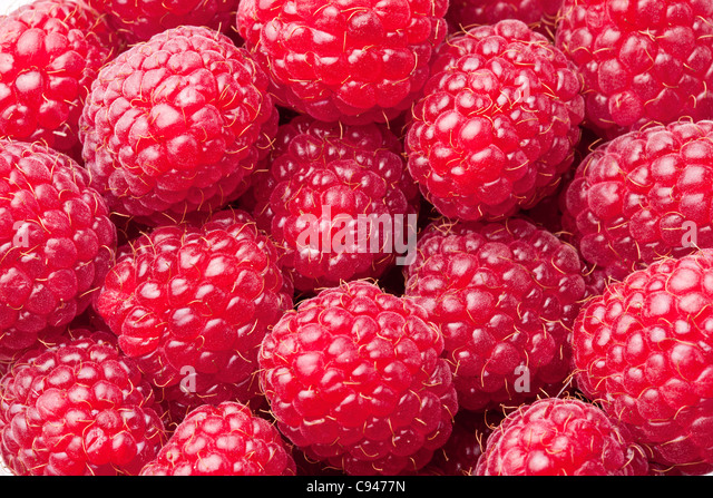 Ripe raspberries -food background. - Stock Image