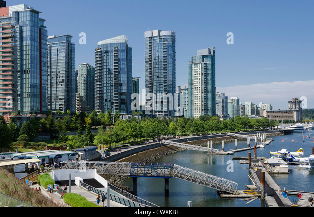 Vancouver waterfront and Harbour Water Airport, Vancouver, Canada . - Stock Image