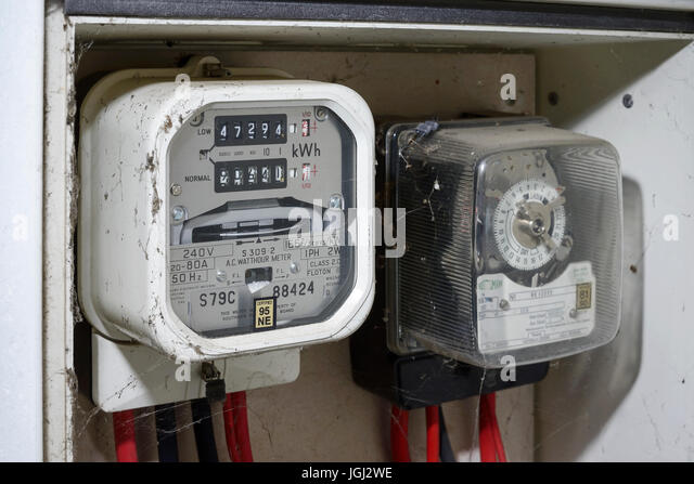 Traditional Power Meter : Old style electricity meter stock photos