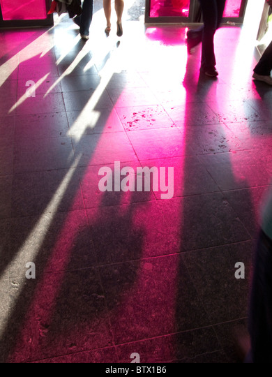 Shadows on floor of entrance to Euralille shopping centre, Lille , France - Stock Image