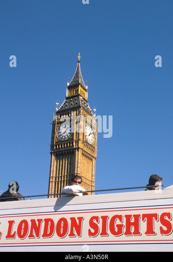 Europe England United Kingdom Great Britain UK London Parliament Square a London Tour Bus With Passengers Passing - Stock Image
